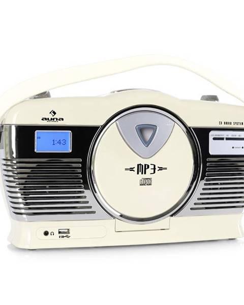 Auna Auna RCD-70CR, retro rádio, FM, USB, CD, baterie, krémové