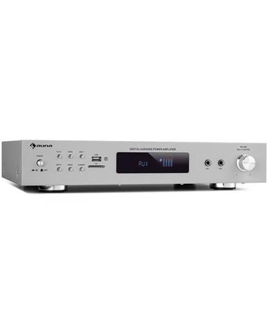 Auna AMP-9200, BT, digitální stereo zesilovač, 2x60W RMS, BT, 2x mikrofon, stříbrný
