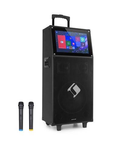 """Auna Pro KTV, karaoke systém, 15,4"""" dotykový display, 2 UHF mikrofony, WiFi, BT, USB, SD, HDMI, vozík"""