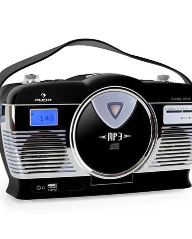 Auna RCD-70BL, retro rádio, FM, USB, CD, MP3, baterie, černé