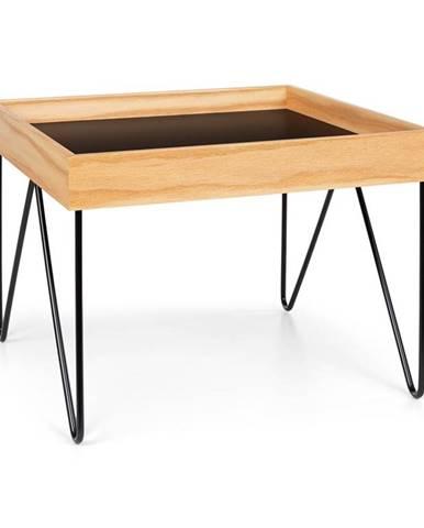 Besoa Big Lyon, konferenční stolek, melamin/MDF s dubovou dýhou, ocelový rám, černý