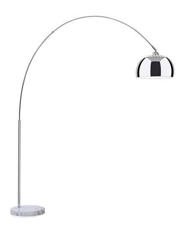 Besoa Nael, oblouková lampa, stříbrné stínidlo, mramorový podstavec, E27, síťový kabel: 2 m, stříbrný