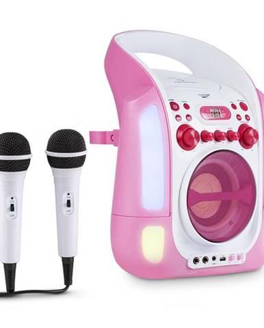 Auna Kara Illumina, růžový, karaoke systém, CD, USB, MP3, LED světelná show, 2x mikrofon, přenosný