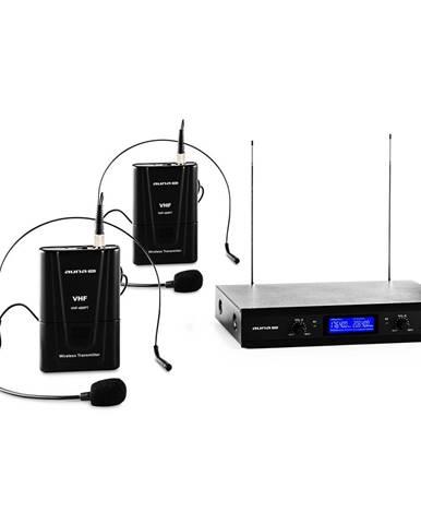 Auna Pro VHF-400 Duo 2, 2kanálová sada VHF bezdrátových mikrofonů, 1 x přijímač, 2 x headset mikrofon