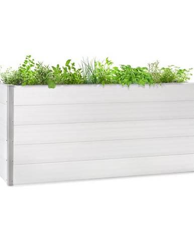 Blumfeldt Nova Grow, zahradní záhon, 195 x 91 x 50 cm, WPC, dřevěný vzhled, bílý