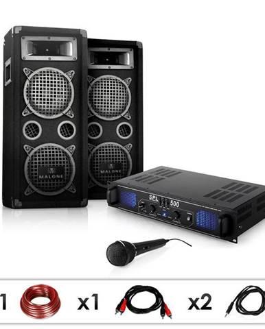 "Electronic-Star DJ PA set ""DJ-25"", zesilovač, PA repro, mikrofon, 1600 W"