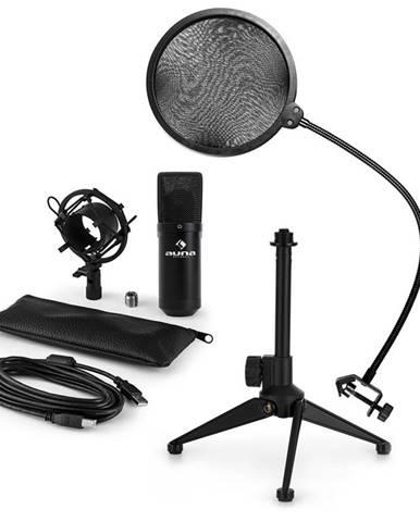 Auna MIC-900B V2, USB mikrofonní sada, kondenzátorový mikrofon + pop-filter + stolní stativ