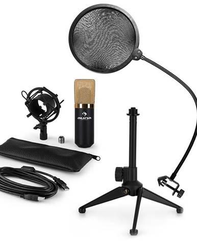 Auna MIC-900BG-LED V2, USB mikrofonní sada, černo zlatý kondenzátorový mikrofon + pop-filter + stolní stativ