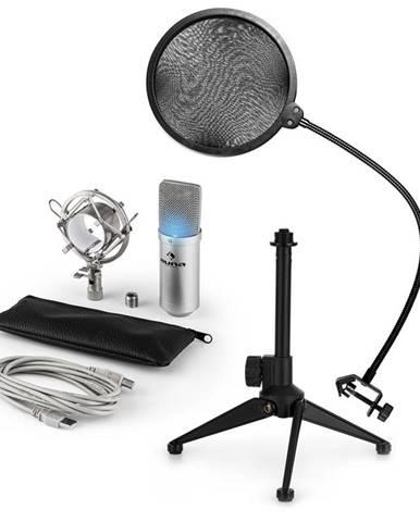 Auna MIC-900S-LED V2, USB mikrofonní sada, stříbrný kondenzátorový mikrofon + pop-filter + stolní stativ