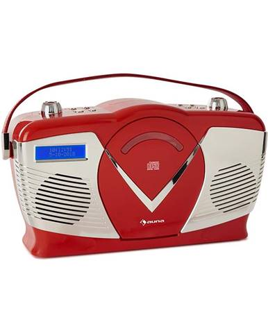 Auna RCD-70 DAB, retro CD rádio, FM, DAB+, CD přehrávač, USB, bluetooth, červené