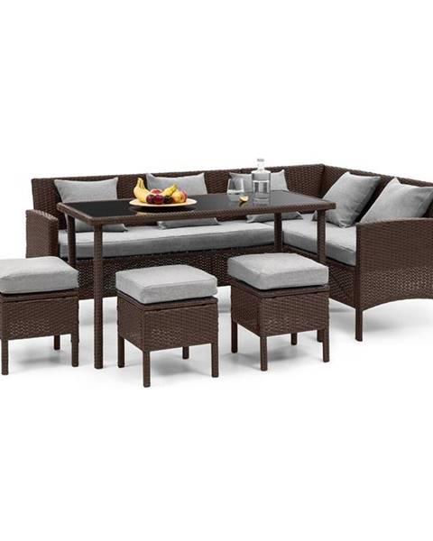 Blumfeldt Blumfeldt Titania Dining Lounge set zahradní sedací souprava, hnědá / světle šedá
