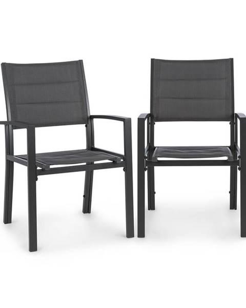 Blumfeldt Blumfeldt Torremolinos, zahradní židle, 2ks, hliník, ComfortMesh, tmavěšedé