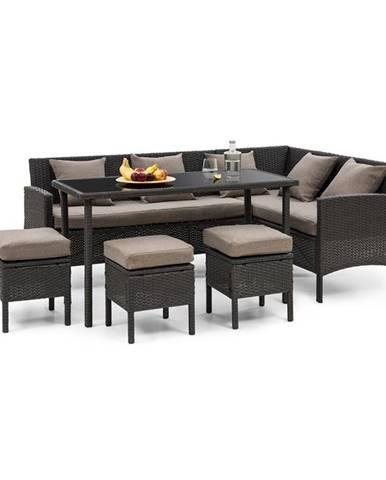 Blumfeldt Titania Dining Lounge set zahradní sedací souprava, černá / hnědá