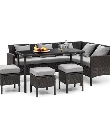Blumfeldt Titania Dining Lounge set zahradní sedací souprava, černá / světle šedá