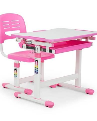 OneConcept Annika dětský psací stůl, dvoudílná sada, stůl, židle, výškově nastavitelné, růžová
