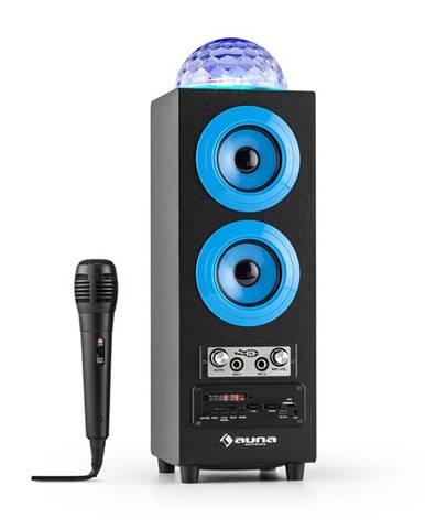 Auna DiscoStar Blue, přenosný bluetooth reproduktor, USB, akumulátor, LED, mikrofon