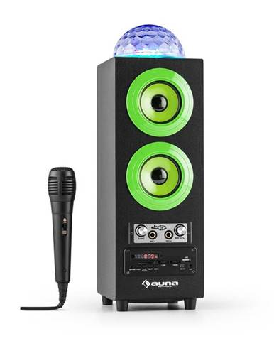Auna DiscoStar Green, přenosný bluetooth reproduktor, USB, akumulátor, LED, mikrofon