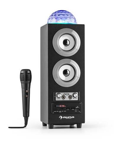 Auna DiscoStar Silver, přenosný bluetooth reproduktor, USB, akumulátor, LED, mikrofon