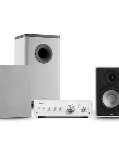 Numan Drive 802, stereo sada, stereo zesilovač, regálový reproduktor, subwoofer, kryt, bílá/šedá