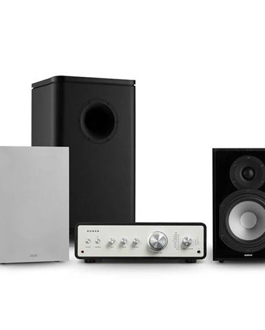 Numan Drive 802, stereo sada, stereo zesilovač, regálový reproduktor, subwoofer, kryt, černá/šedá
