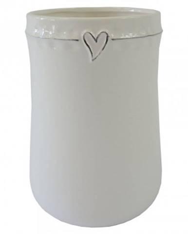 Keramická váza vk45 bílá se srdíčkem