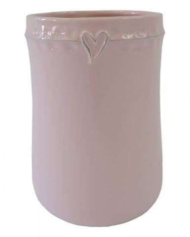 Keramická váza vk47 růžová se srdíčkem