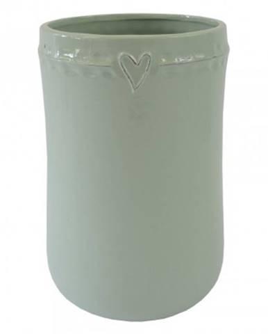 Keramická váza vk48 mátová se srdíčkem