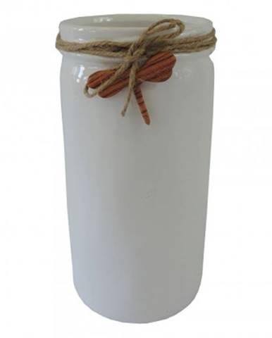 Keramická váza vk54 bílá s vážkou