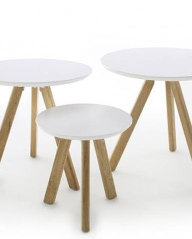 Konfereční stolek - dřevěný konferenční stolek modun - set 3 kusů