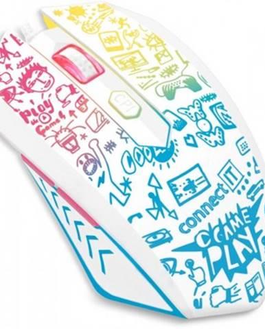 Drátové myši drátová myš connect it doodle, 6 tlačítek, podsvícená, bílá