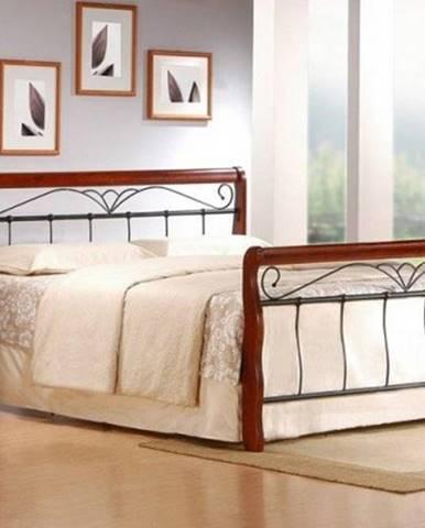 Kovová postel verona 160x200, třešeň, černá,vč.roštu,bez matrace