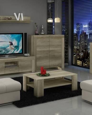 Sky - obývací stěna, 2x komoda, rtv stolek, světlo