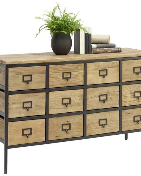 Ambia Home Ambia Home KOMODA, recyklované dřevo, jilm, přírodní barvy, černá, 127/80/42 cm - přírodní barvy, černá