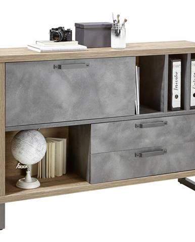 Stylife KOMODA, šedá, barvy dubu, 140/97/35 cm - šedá, barvy dubu