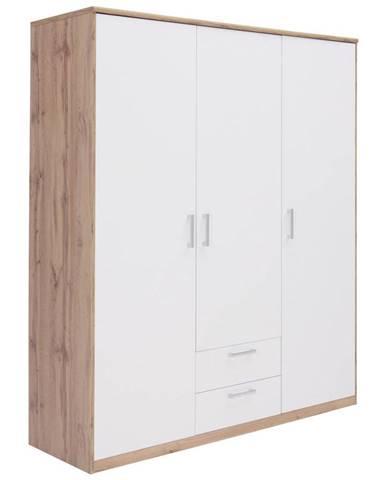 Xora ŠATNÍ SKŘÍŇ, bílá, barvy dubu, 157/194/54 cm - bílá, barvy dubu