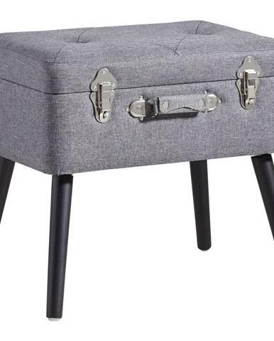 Ambia Home TABURET, dřevo, textil, kompozitní dřevo, 50/46/35 cm - antracitová, černá