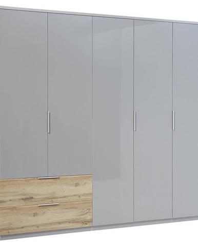 Carryhome ŠATNÍ SKŘÍŇ, barvy dubu, světle šedá, 226/213/58 cm - barvy dubu, světle šedá