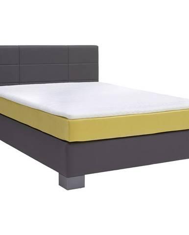 Hom`in POSTEL BOXSPRING, 140/200 cm, textil, antracitová, žlutá - antracitová, žlutá