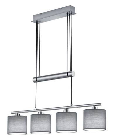 Novel ZÁVĚSNÉ SVÍTIDLO, E14/40 W, 77/13,5/95-150 cm - šedá, barvy niklu