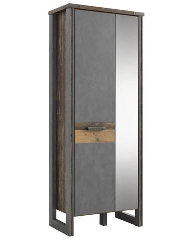 Voleo ŠATNÍ SKŘÍŇ, hnědá, tmavě šedá, 73/192/42 cm - hnědá, tmavě šedá