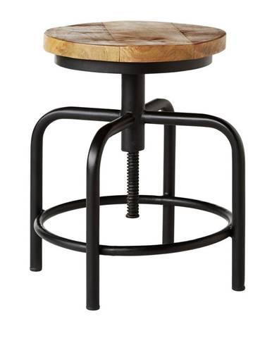 Ambia Home TABURET, dřevo, kov, 36/49/36 cm - přírodní barvy, černá