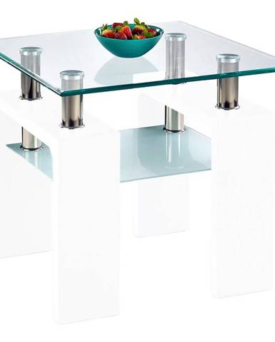 Boxxx KONFERENČNÍ STOLEK, bílá, sklo, kompozitní dřevo, 60/55/60 cm - bílá