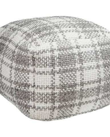 Linea Natura TABURET, textil, 45/45/35 cm - šedá, přírodní barvy
