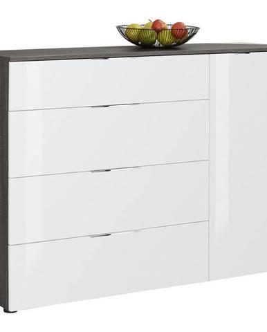 Novel KOMODA, bílá, barvy břidlice, 135,3/99,08/40 cm - bílá, barvy břidlice