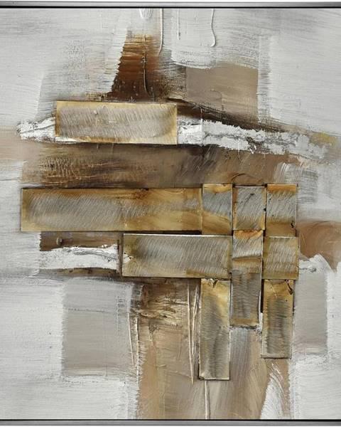 Monee Monee OLEJOMALBA, abstraktní, 55/55 cm - hnědá, bílá