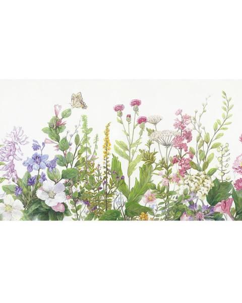 Monee Monee OLEJOMALBA, květiny, 150/70 cm - zelená, fialová, pink, světle zelená, béžová