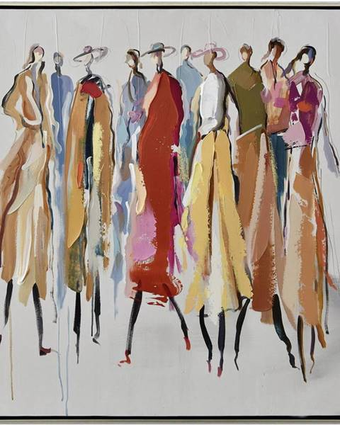 Monee Monee OLEJOMALBA, lidé, 85/85 cm - modrá, hnědá, žlutá, červená, bílá