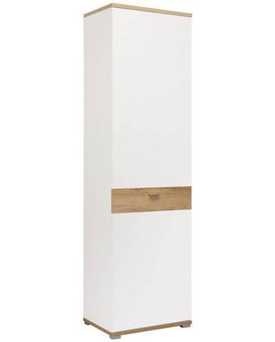 Carryhome ŠATNÍ SKŘÍŇ, bílá, barvy dubu, 58/205/40 cm - bílá, barvy dubu