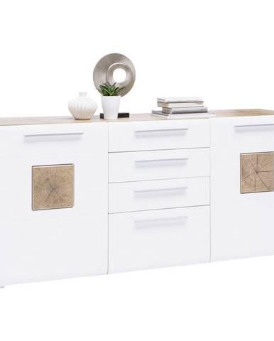 Hom`in PŘÍBORNÍK/KOMODA, bílá, barvy dubu, 180/82/43 cm - bílá, barvy dubu