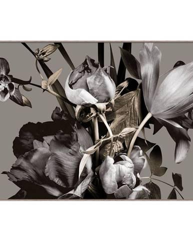 Monee OBRAZ NA SKLE, květiny, 120/80 cm - šedá, černá